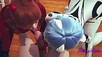 Evangelion Hentai 3D - Threesome Shinji, Asuka and Rei in Shinji's Room they suck Shinji's dick until he cums in her mouth then he eats their pussy and fucks them
