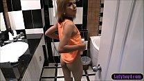 Ladyboy girlfriend hotel room blowjob and bareback anal