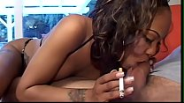 Charming chocolate gal with big knockers Lacey Duvalle is fond of nosh diving with muscular white stud