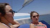 Boat foursome with kinky bikini teens | karliekumwell thumbnail