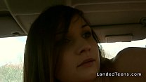 Cute stranded teen gangbanged in the car