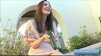 Sexy brunette amateur babe Brooke fucks her juicy pussy with a large cucumber