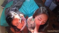 4K threesome with two high school asian girls @...
