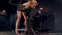 Blonde slave on Sybian gets whipped