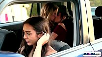 Driver watch girls make out in backseat