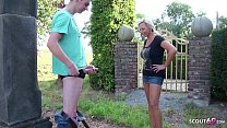 German Big natural Tits Mother Catch Step Son Jerk in the Garden and let him Fuck