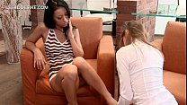 Pussy addict lesbian kissing her GFs body all over preview image