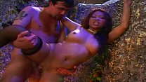 Dirty Asian in stockings takes white hard dick standing up