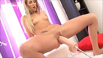 Tight blonde Jenny Simons gaped by brutal dildo machine preview image