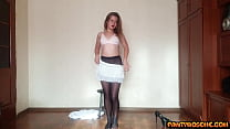 Andrea Modeling Black Pantyhose And Teasing