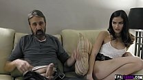 Whaaaam! Now we're talking serious spanking! Cruel stepdad disciplines his slutty daughter Emily Willis!