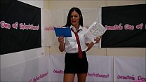 School-Uniform Bra and Panties Match (Strip-Wrestling Match) w, Loser gets strapped in a nappy (diaper)!! ~ Amy Murphy vs Missy T