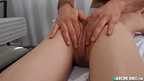 Oiled blonde gets fucked by masseur