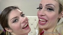 Chessie Kay and Lucia Love asslick and gag with old Ben Dover