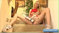 Sexy natural big tit blonde young amateur Blake fucks her juicy wet pussy with massive sex vibrator - 69VClub.Com