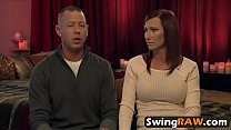Swinger wife cums while riding Sybian thumbnail