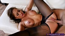 Busty chick gets fucked rough in pantyhose and heels