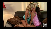 Asian babe & her busty blonde GF spend the day playing with toys