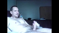 sitting in recliner and wanking to a cumshot