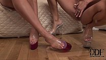 Two horny blonde foot-worshipping lesbian babes in action thumbnail