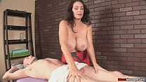 Huge titted massage gets a little rough thumbnail