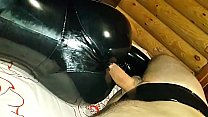 Me fucking my wife's big ass in black latex catsuit at home