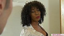 Ebony milf fucked by a white college guy
