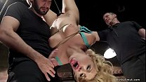 Bound blonde fucked with cock and dildo