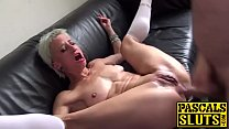 Skinny submissive slut c. and fucked with a fat shaft