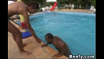 Beefy Gays get a hard fuck beside the pool