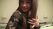 Skinny brunette teasing in black nylons