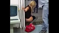 Woman can't take it and piss in the train car