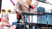 Two office girls put a live squirting show with...