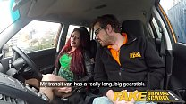 Fake Driving School Crazy hot redhead fucks car gearstick after lesson