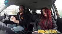 Fake Driving School Crazy hot redhead fucks car gearstick after lesson Image