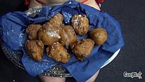 Nasty New Year Linda Lush goes Slutty on 6 guys cumeating facial oliebollen
