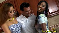 Black booty duo get creamed in threeway thumbnail