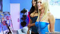 Paige Ashley and India Babe orgy party with fri...