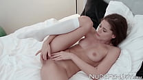 Brunette beauty with shaved pussy erotic solo pussy play