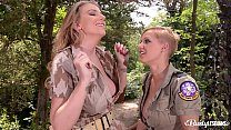 Busty lesbians Loulou Petite & Danielle Maye fill wet pussies with toys