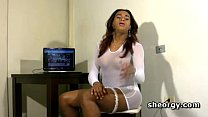 Chesty tranny Mirla Santos jerks of on a chair