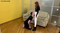 Domina Kira Humiliation Her Slave - Jeanssitting and Spitting Femdom (Preview)