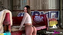 Image: Rahyndee James perfect natural tits and ass solo scene