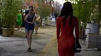 Red transparent dress in public