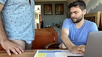 Hairy Dad lets cute friend use his laptop and he finds porn