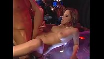 Horny brunette  with beautiful body Jennifer Luv rides a big dick in front of bar visitors