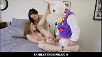Petite Teen Step Sister Jane Rogers & Her BFF Jessica Ryan Trick Fucked By Step brother Wearing Easter Bunny Costume