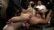 Redhead and blonde subs public banged