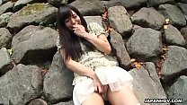 Japanese teen brunette, Tsukushi came in a public place, uncensored