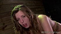 Tied to a crate on all four brunette babe pussy fucked